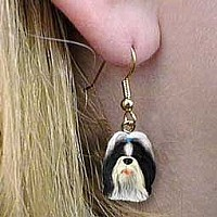 Shih Tzu Black & White Earrings Hanging