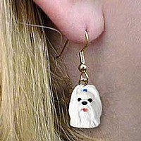 Shih Tzu White Earrings Hanging