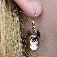 Boxer Brindle Earrings Hanging