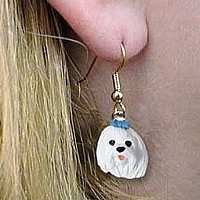 Maltese Earrings Hanging