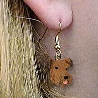 Airedale Earrings Hanging