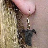 Greyhound Brindle Earrings Hanging