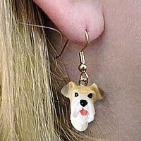 Wire Fox Terrier Red Earrings Hanging