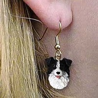 Border Collie Earrings Hanging
