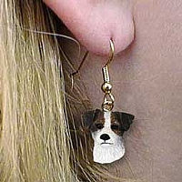 Jack Russell Terrier Brown & White w/Rough Coat Earrings Hanging