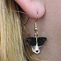 Jack Russell Terrier Black & White w/Rough Coat Earrings Hanging