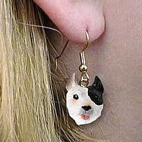 Pit Bull Terrier Brindle Earrings Hanging