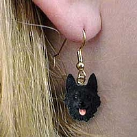 Schipperke Earrings Hanging
