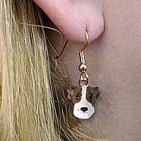 Whippet Brindle & White Earrings Hanging