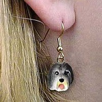 Bearded Collie Earrings Hanging
