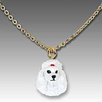 Poodle White Tiny One Pendant