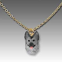 German Shepherd Black & Silver Tiny One Pendant