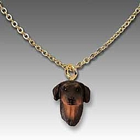 Doberman Pinscher Red w/Uncropped Ears Tiny One Pendant