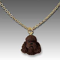 Poodle Chocolate w/Sport Cut Tiny One Pendant