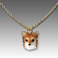 Chihuahua Longhaired Tan& White Tiny One Pendant