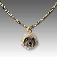 Lhasa Apso Brown w/Sport Cut Tiny One Pendant