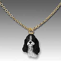 Cocker Spaniel Black & White Tiny One Pendant