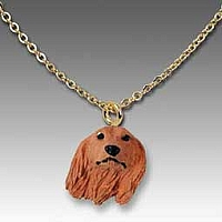 Dachshund Longhaired Red Tiny One Pendant