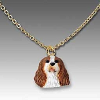 Cavalier King Charles Spaniel Brown & White Tiny One Pendant