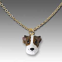 Whippet Brindle & White Tiny One Pendant