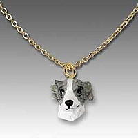 Whippet Gray & White Tiny One Pendant