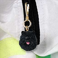 Pomeranian Black Zipper Charm