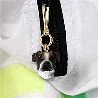 Boxer Brindle Uncropped Zipper Charm