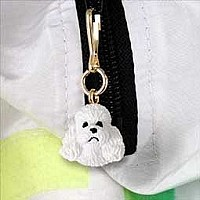 Poodle White w/Sport Cut Zipper Charm