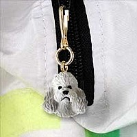 Poodle Gray w/Sport Cut Zipper Charm