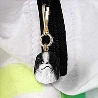 Japanese Chin Black & White Zipper Charm