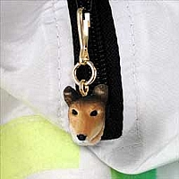 Collie Smoth Hair Zipper Charm