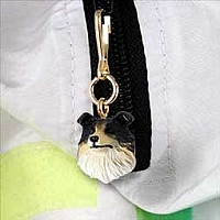 Collie Tricolor Zipper Charm