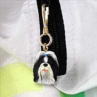 Shih Tzu Black & White Zipper Charm