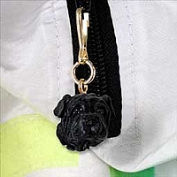 Shar Pei Black Zipper Charm