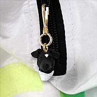 Fox Terrier Black & White Zipper Charm