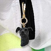 Greyhound Brindle Zipper Charm