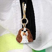 Brown & White Cavalier King Charles Zipper Charm