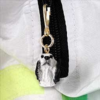 English Setter Belton Blue Zipper Charm