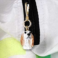 English Setter Belton Orange Zipper Charm