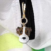 Whippet Brindle & White Zipper Charm