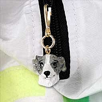 Whippet Gray & White Zipper Charm