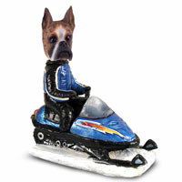 Boxer Brindle Snowmobile Doogie Collectable Figurine