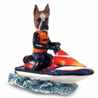 Boxer Brindle Jet Ski Doogie Collectable Figurine