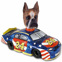 Boxer Brindle Race Car Doogie Collectable Figurine