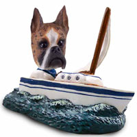 Boxer Brindle Sailboat Doogie Collectable Figurine