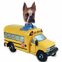 Boxer Brindle School Bus Doogie Collectable Figurine