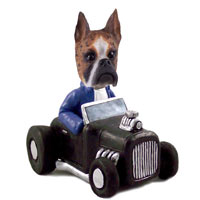 Boxer Brindle Hot Rod Doogie Collectable Figurine