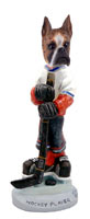 Boxer Brindle Hockey Player Doogie Collectable Figurine