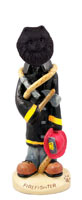 Pomeranian Black Fireman Doogie Collectable Figurine