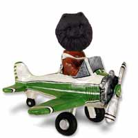 Pomeranian Black Airplane Doogie Collectable Figurine